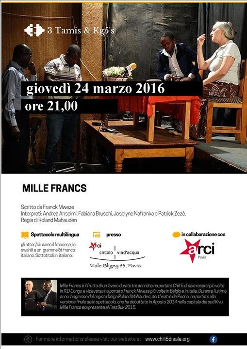 Pavia: Mille Francs (spettacolo teatrale multilingue sul Congo) – Spettacoli Teatro